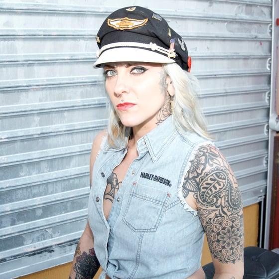 Image of Pre-Owned Harley Davidson Sleeveless Denim Shirt