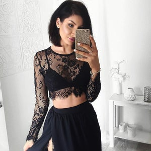 Image of Sexy Two Piece Prom Dress, Cap Sleeves Lace Prom Dress, Side Slit Long Dress