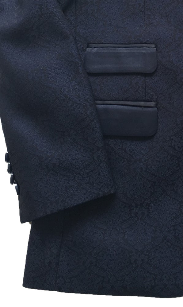 Image of Navy 3 Piece Brocade Dinner Suit