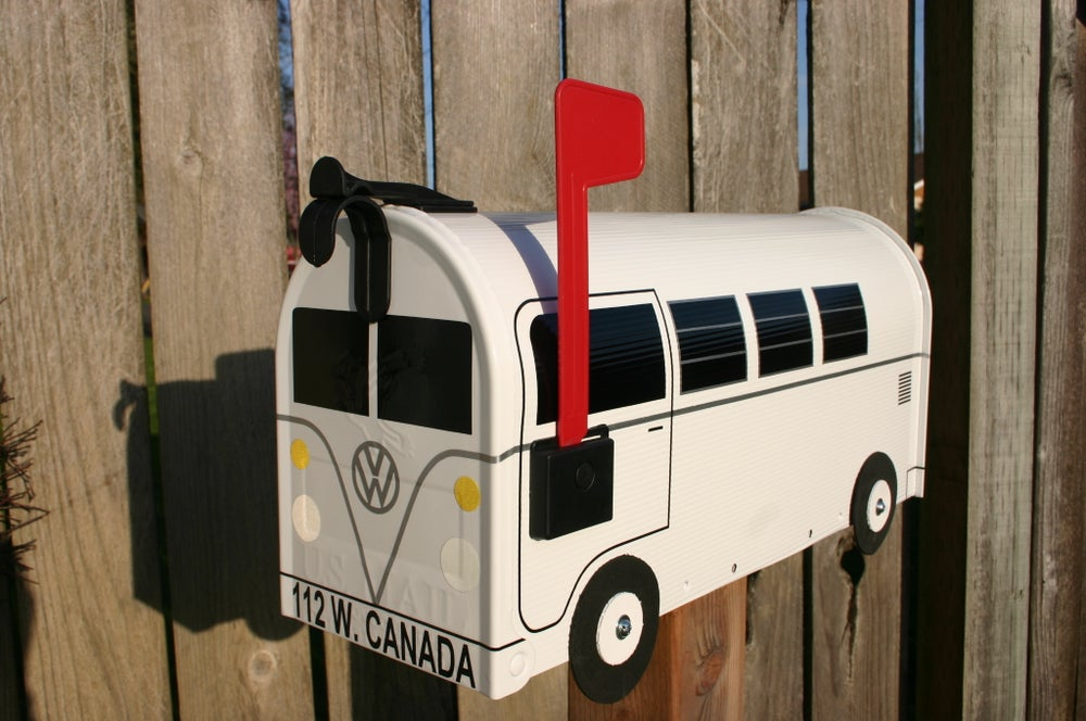 Image of White Volkswagen Split Window Single Color Bus Mailbox by TheBusBox VW Splitty