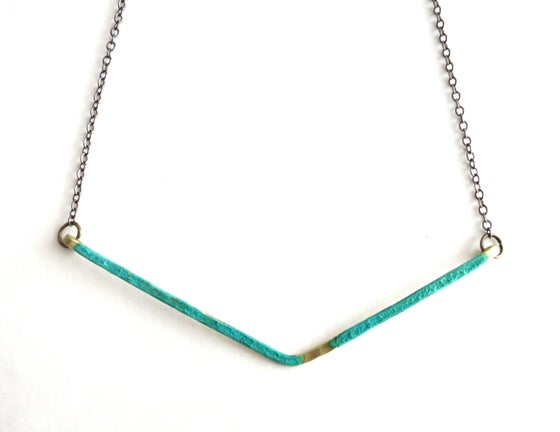 Image of Brass and Patina Hammered Necklace