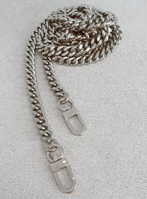 "Image of NICKEL Chain Bag Strap - NEW Classy Curb, Diamond Cut Accents - 3/8"" Wide - Choose Length & Clasps"