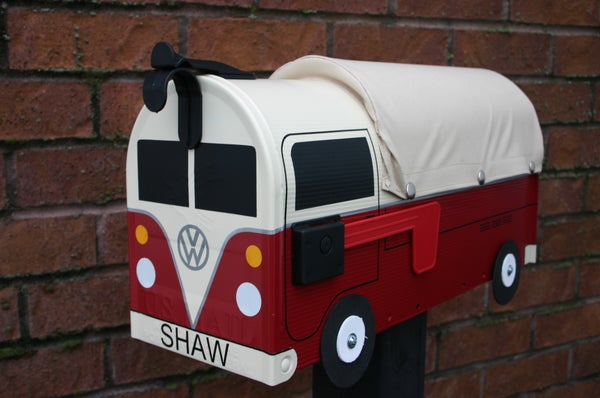 Image of Red Volkswagen Single Cab Bus Mailbox by TheBusBox VW Double Cab