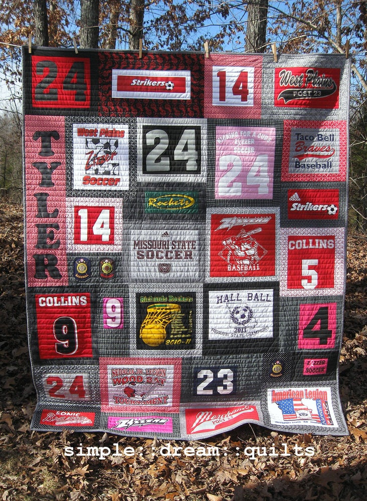 Image of college dorm quilt, memory quilt, t-shirt quilt, nap quilt,.....Made to order