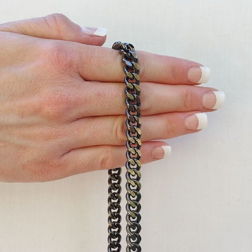 "Image of GUNMETAL Chain Bag Strap - NEW Classy Curb, Diamond Cut Accents - 3/8"" Wide - Choose Length & Hooks"