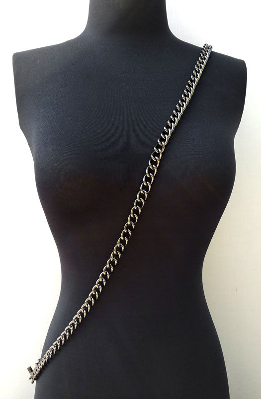 "Image of GUNMETAL Chain Luxury Strap - Large Classy Curb - 7/16"" (12mm) Wide - Choose Length & Hooks/Clasps"