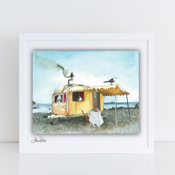 Image of Vintage Caravan Seaside PRINT