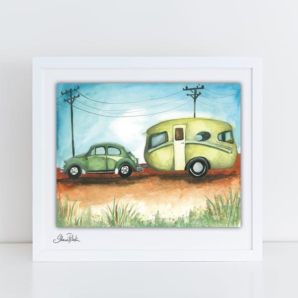 Image of Vintage Caravan on the road PRINT
