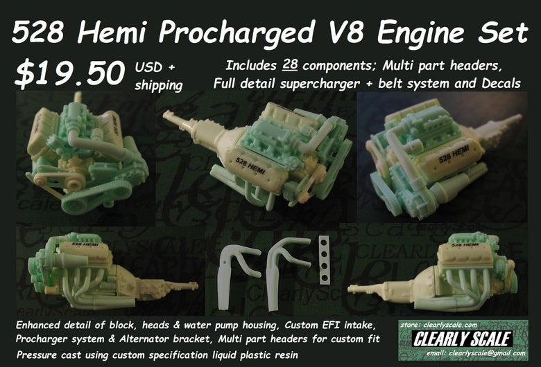 Image of 528 Hemi Procharged V8 Engine + Transmission Set
