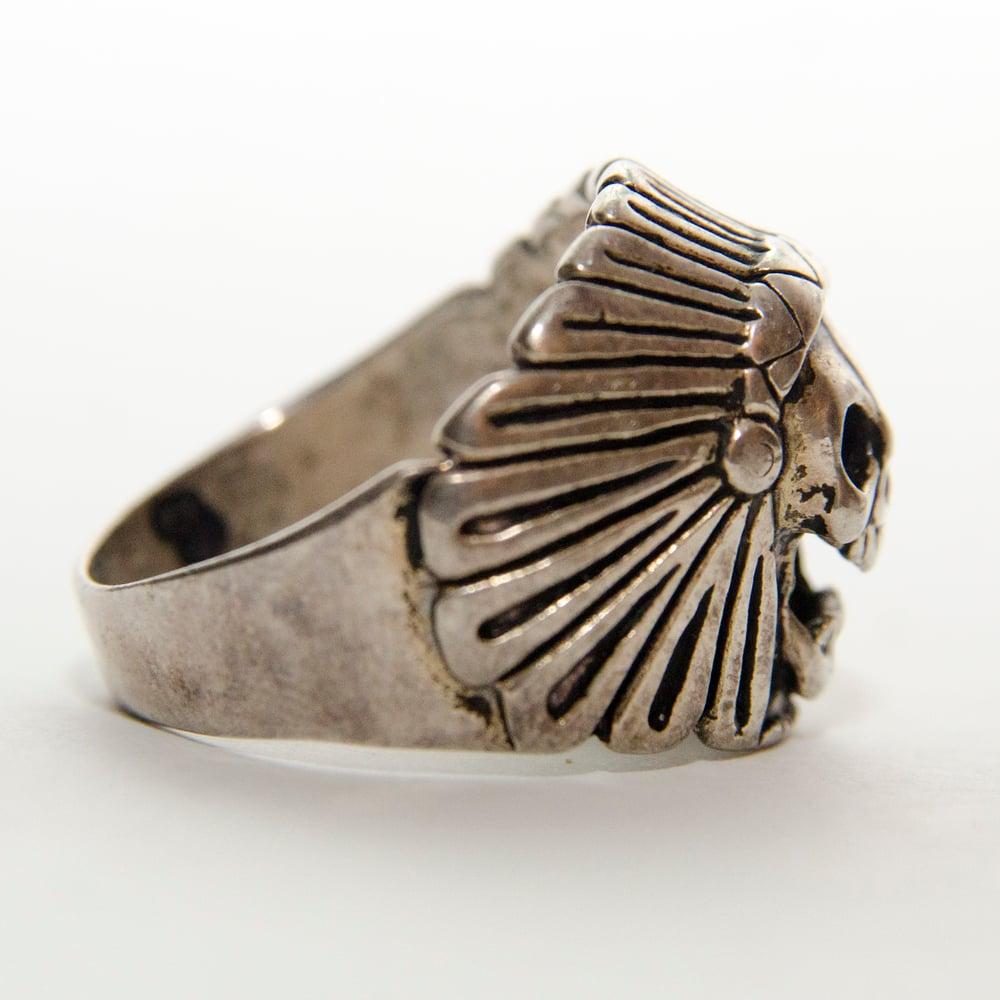Image of Men's Vintage 1980s Skull Headdress Ring
