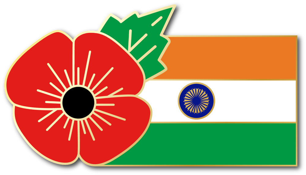 Image of INDIA (Hindustani) FMN Poppy/Flag Combo Medal (28mm x 15.5mm)