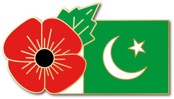 Image of PAKISTAN FMN Poppy/Flag Combo Medal (28mm x 15.5mm)