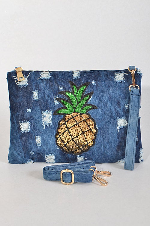 Image of Pineapple Denim Clutch