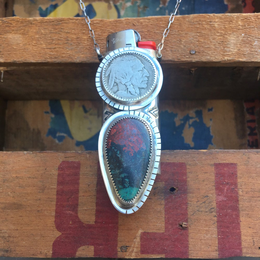 Image of REVERSIBLE SONORA SUNRISE & TURQUOISE LIGHTER HOLDER NECKLACE
