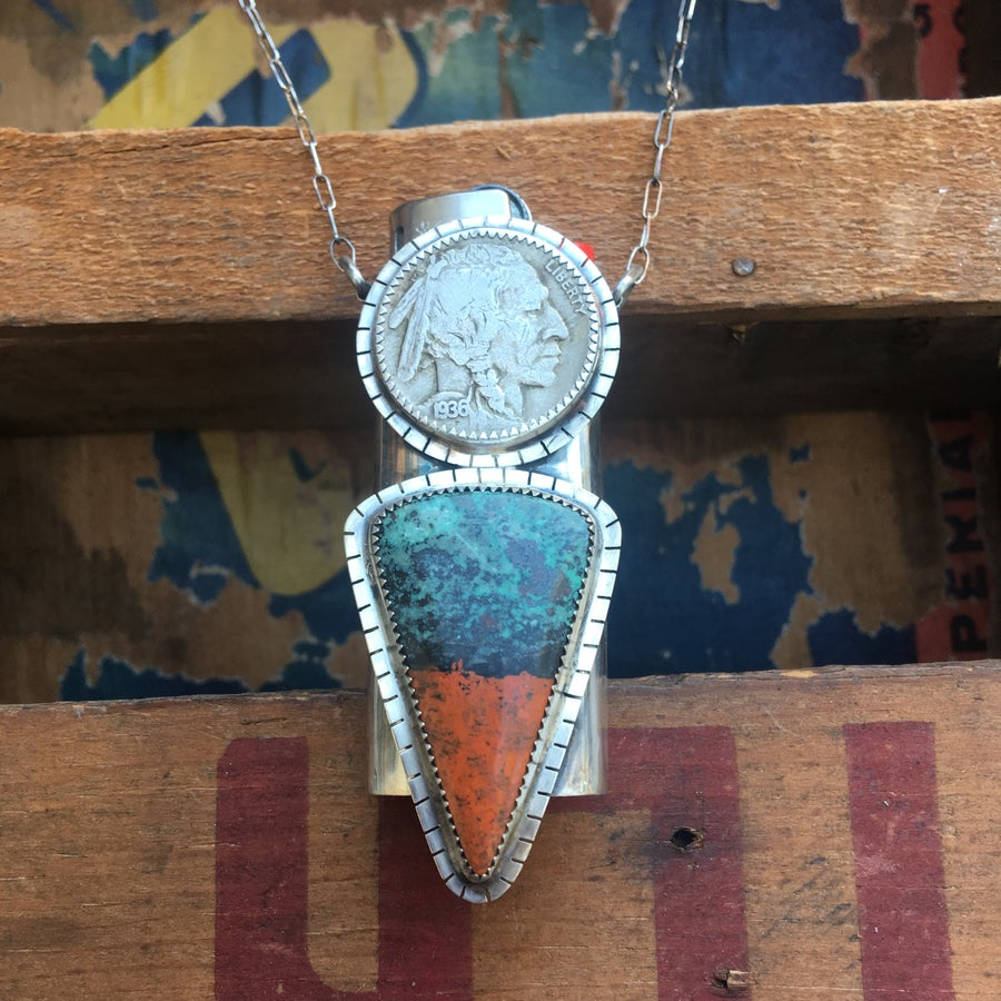 Image of REVERSIBLE SONORA SUNRISE, NICKEL AND TURQUOISE LIGHTER NECKLACE