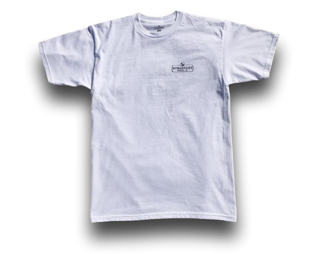 Image of White Steadfast Pomade Co. Logo Tee