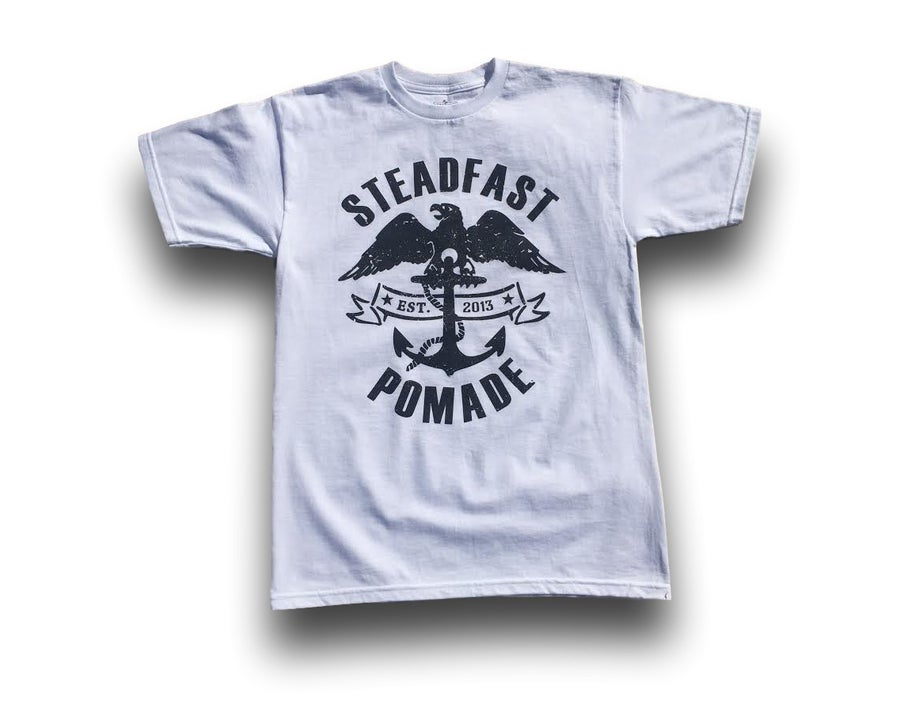 Image of White Steadfast Anchor & Eagle Tee