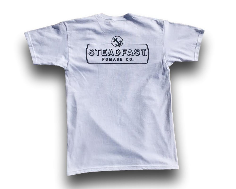Image of White Steadfast Pomade Co. Logo Tee