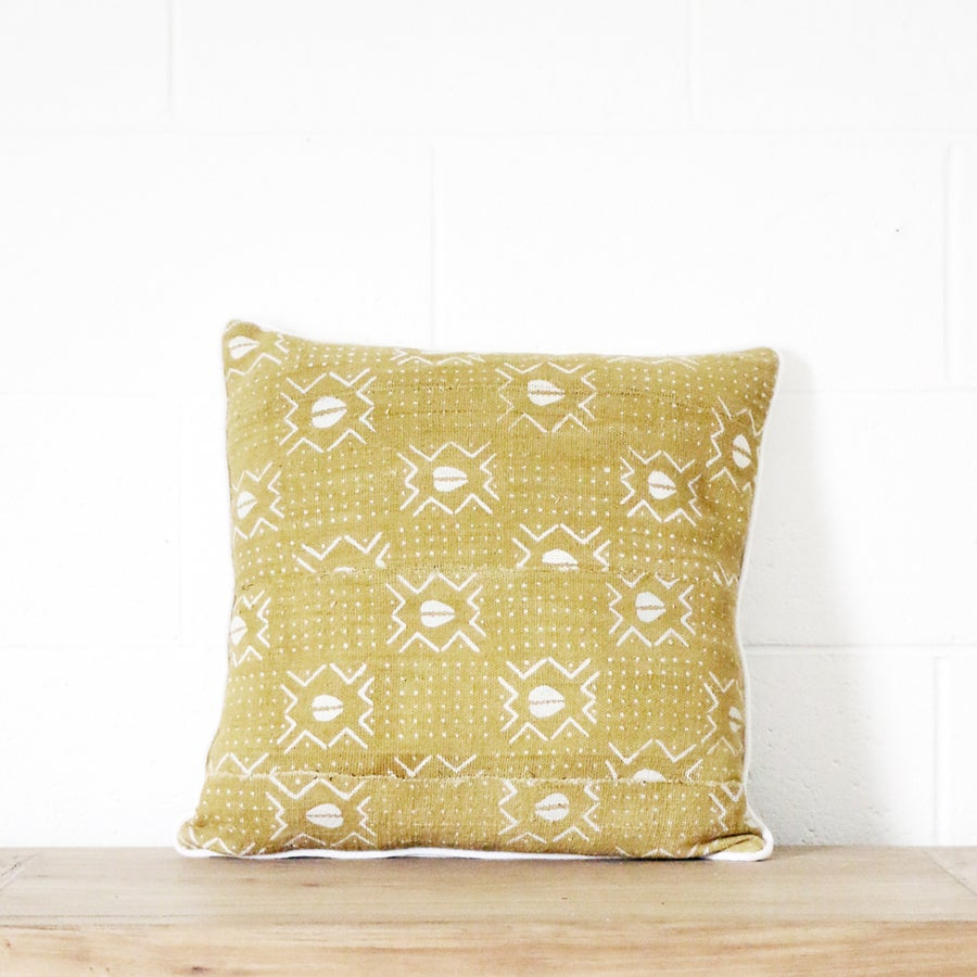 Image of Mudcloth Cushion Gold Cowrie