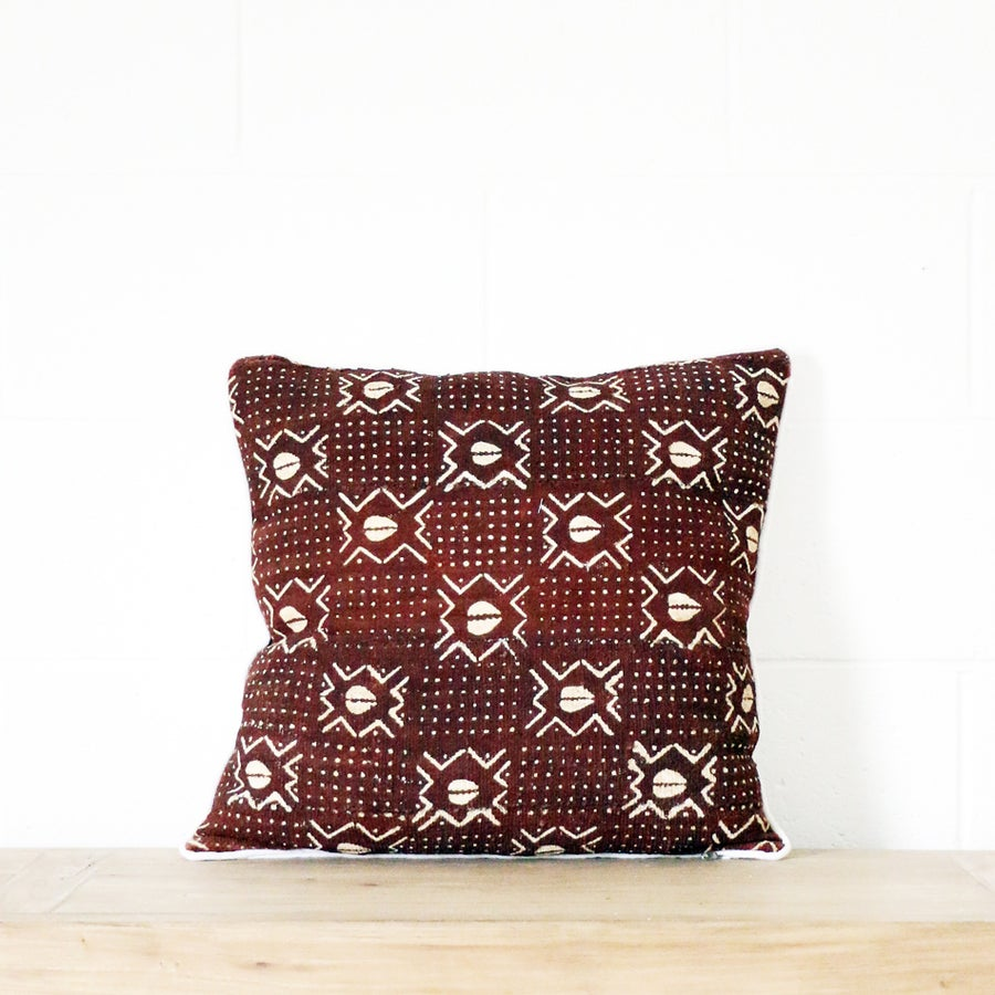 Image of Mudcloth Cushion Cocoa Cowrie