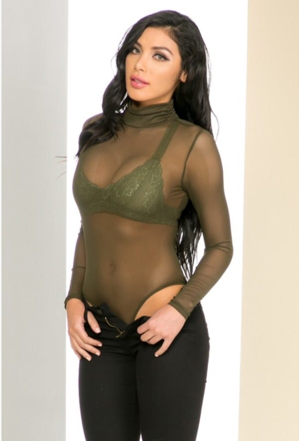LAVASHTI — Olive sheer turtle neck Bodysuit