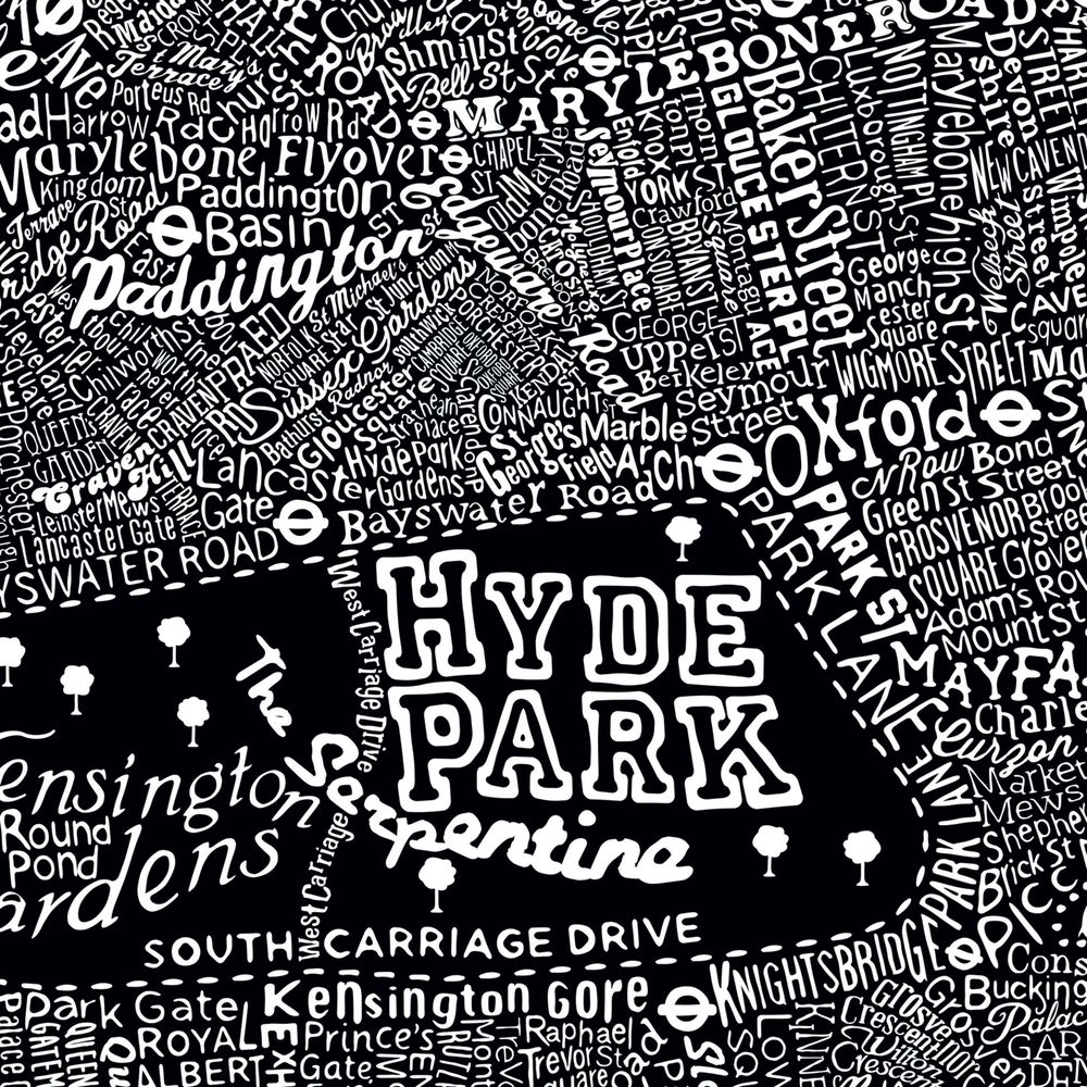 Typographic Street Map Of Central London (Black)