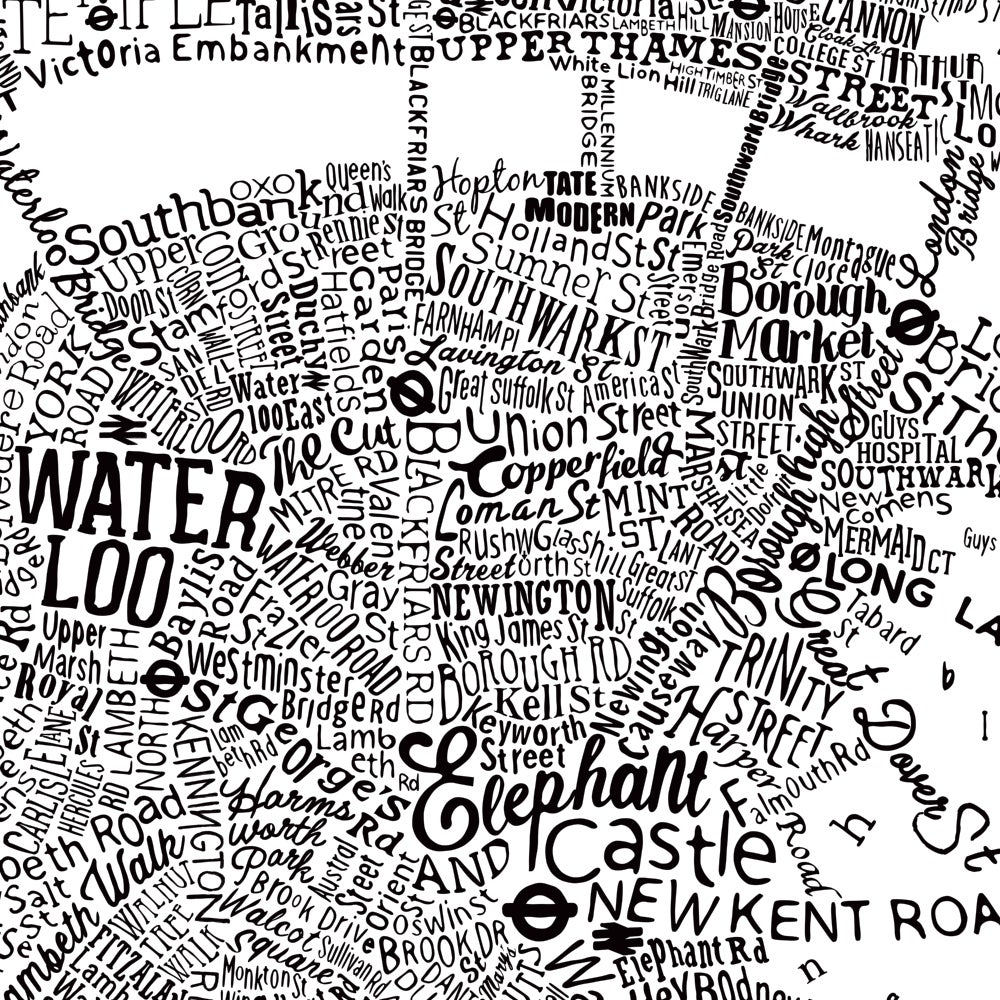 Typographic Street Map Of Central London (White)
