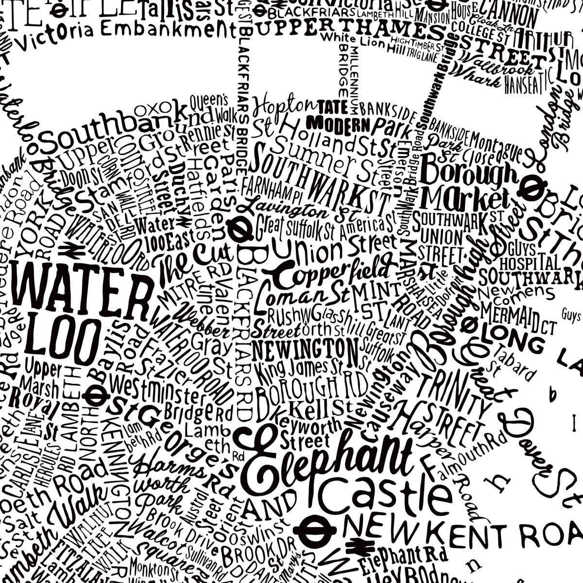 Image of Typographic Street Map Of Central London (White)