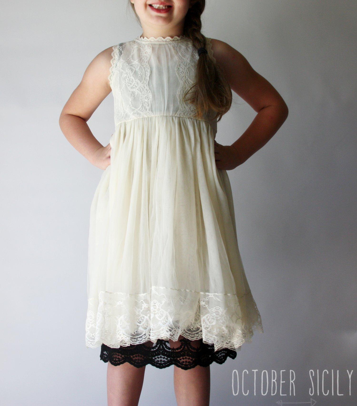 Image of FREESHIP Girls Full Slip Lace Dress Extender, Size 6-12 years