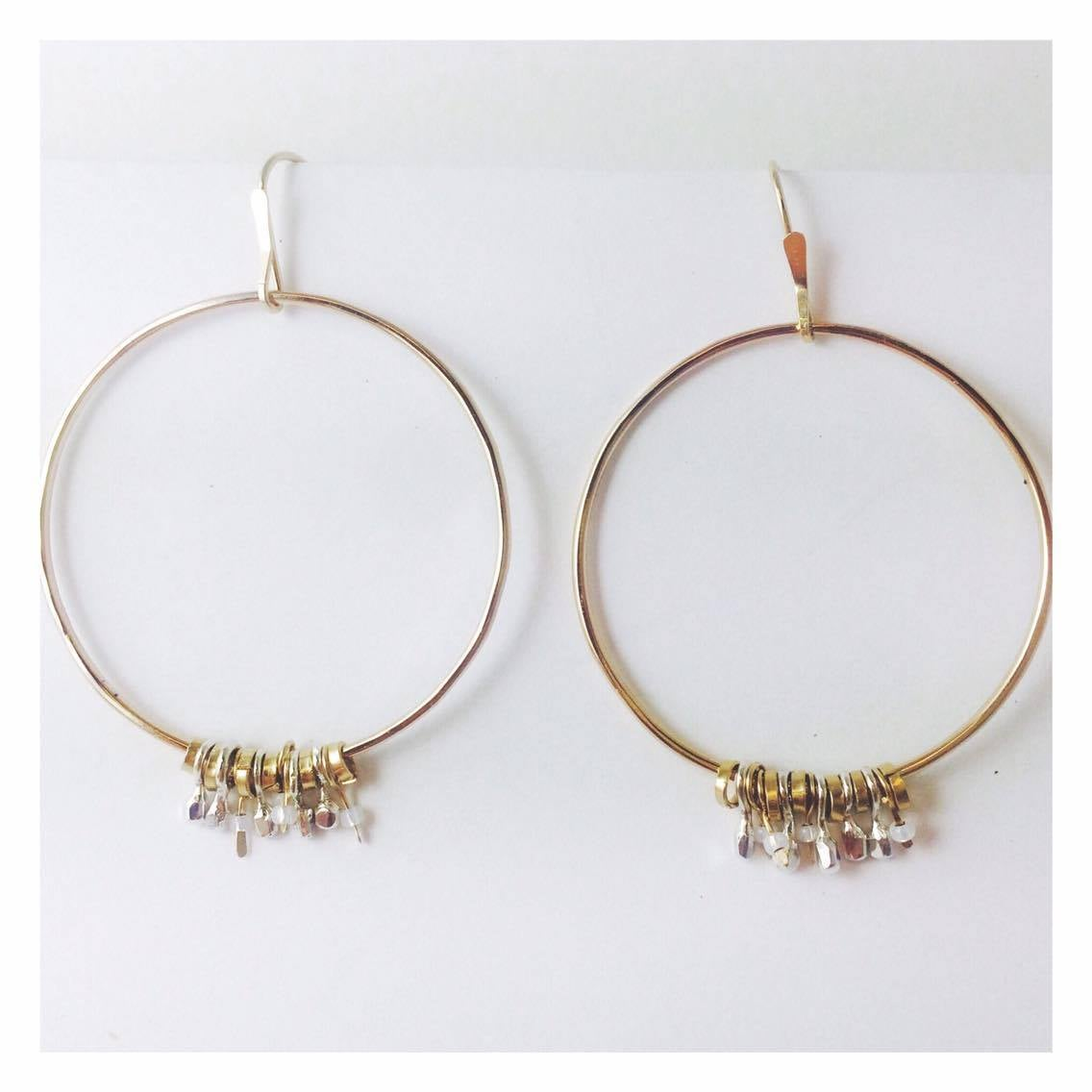 Image of Gold and Silver Charm Hoops
