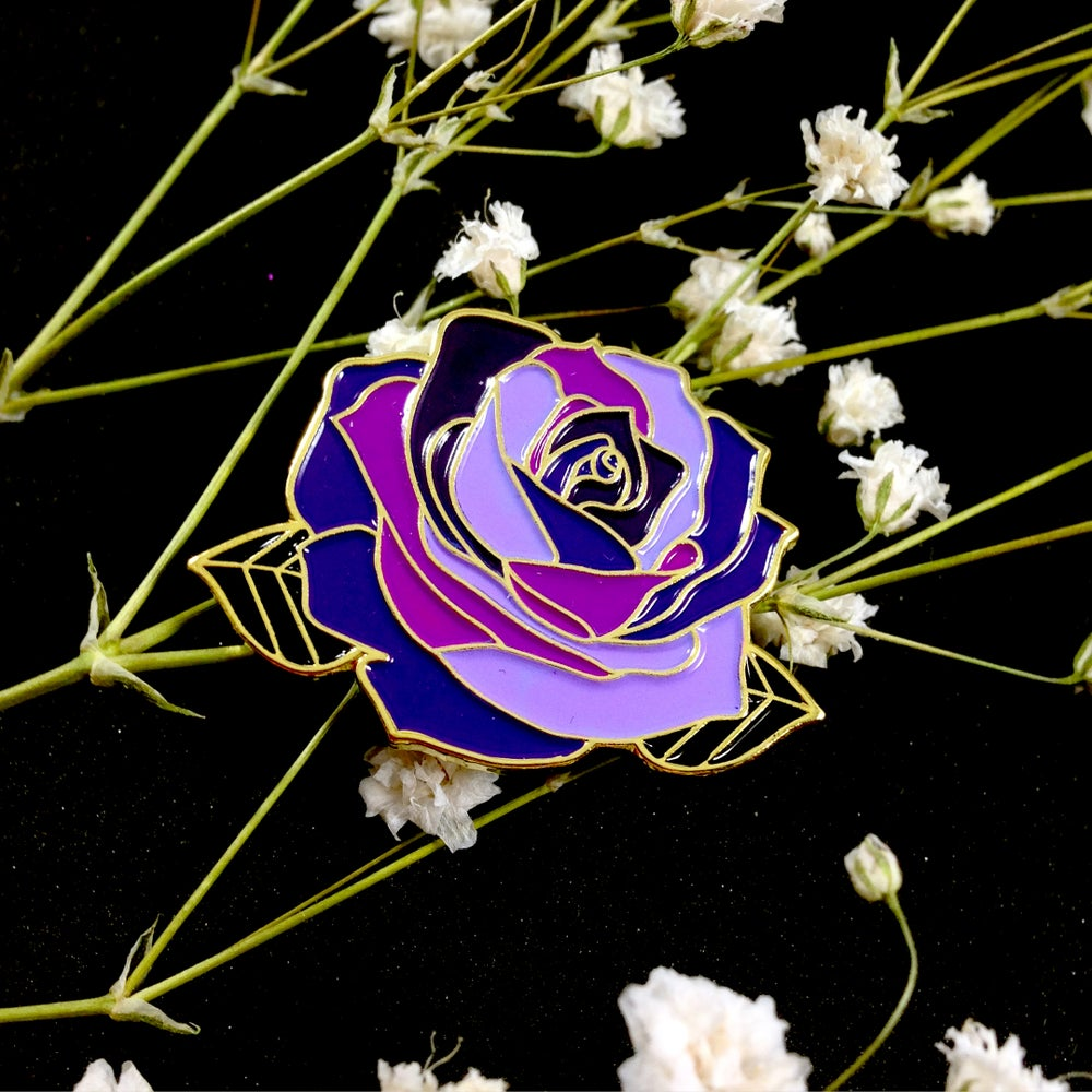 Image of Witchy Purple Rose Enamel Pin