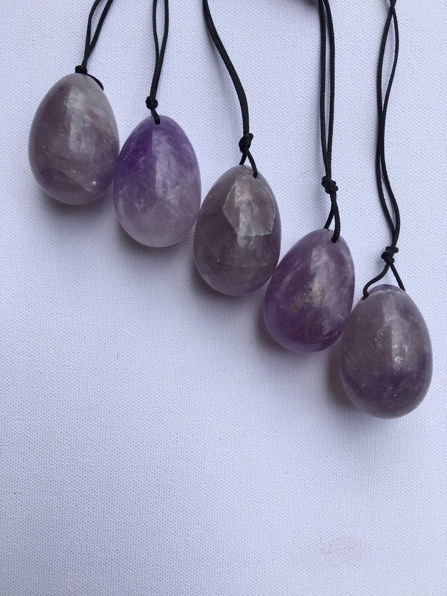 Image of DRILLED Amethyst Yoni Egg :: Large & Medium