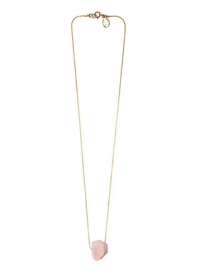 "Image of Rose Quartz "" Rose Tears"" Necklace on 14 Carat Gold Filled Chain"