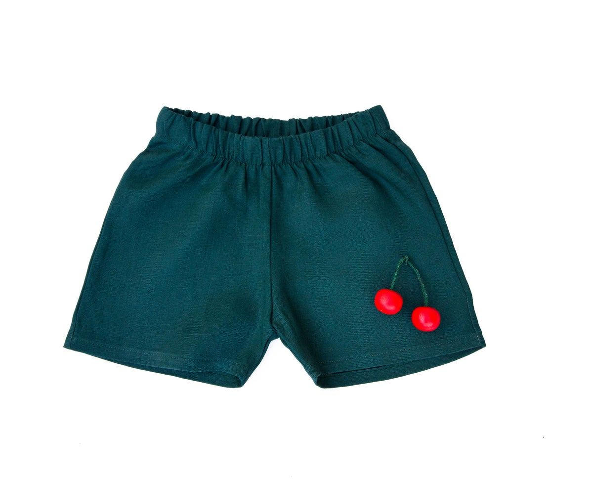 Image of Forest Green Linen shorts