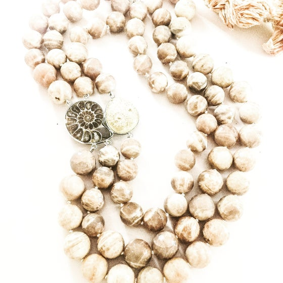Image of Multi Row Statement Agate and Ammonite Necklace