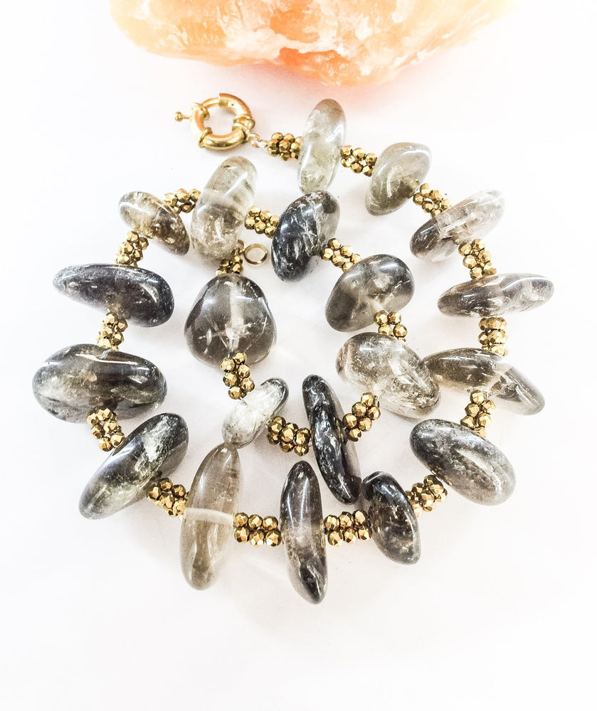 Image of Chunky Smoky Quartz and Gold Hematite Necklace