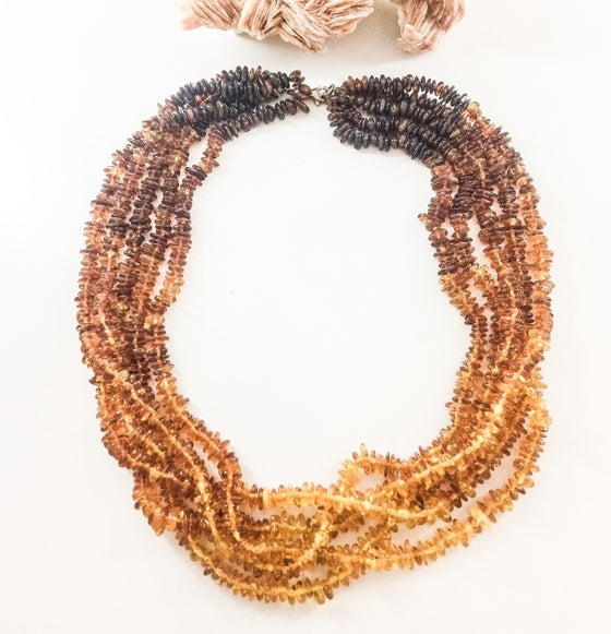 Image of 5 Strand Amber Necklace
