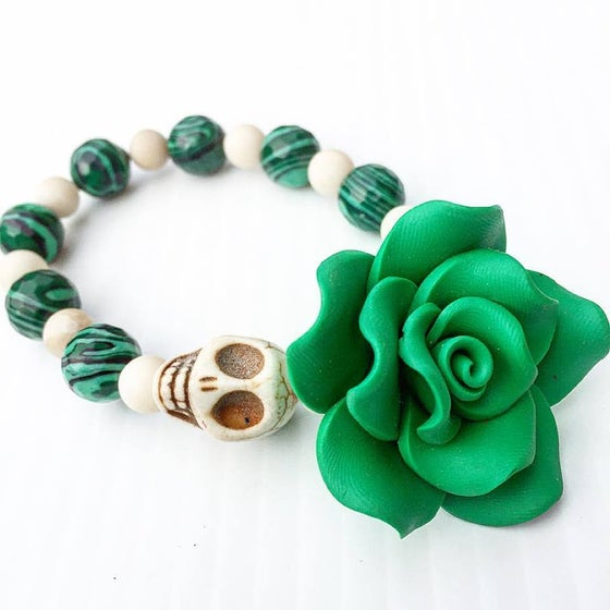 Image of Dia De Los Muertos ~ Protection Malachite and Bone