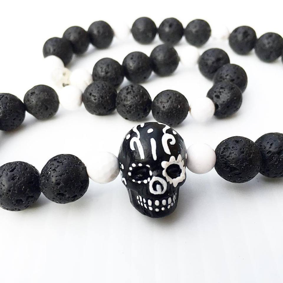 Image of Dia De Los Muertos~Hand Painted Skull with Dragon Veined Agate and Bsalat
