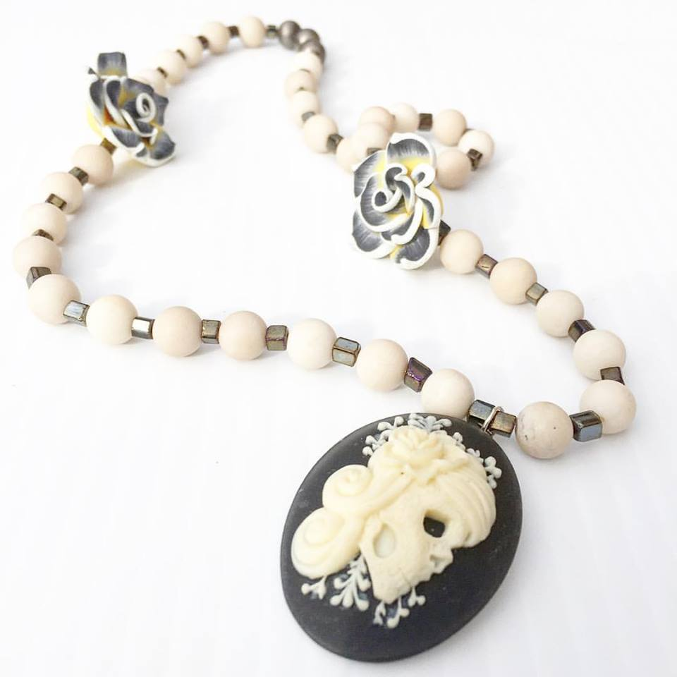 Image of Dia De Los Muertos~Carved Bone Catrina with Bone and Hematite