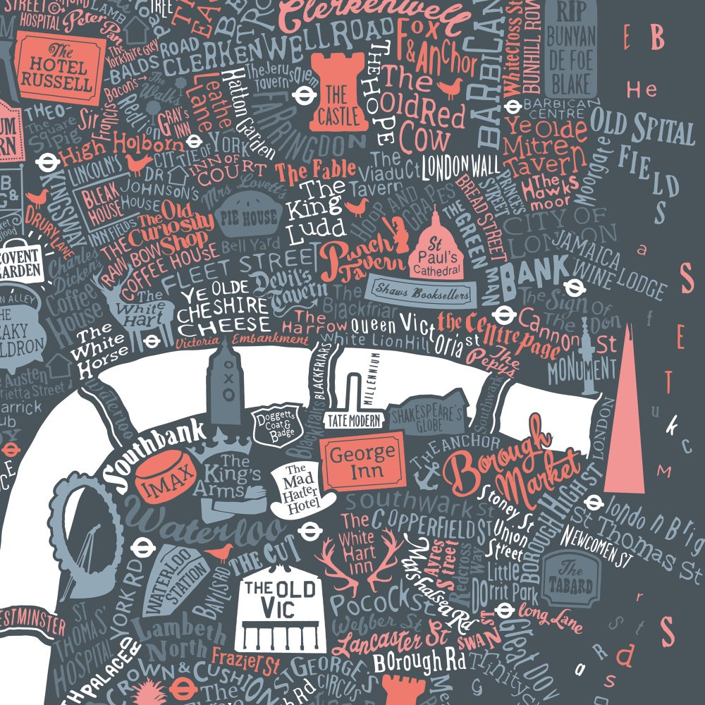 Pubs Of Literary London (Pink & Grey)