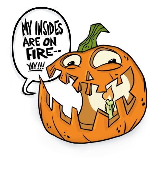 Image of Pumpkin on Fire Enamel Pin