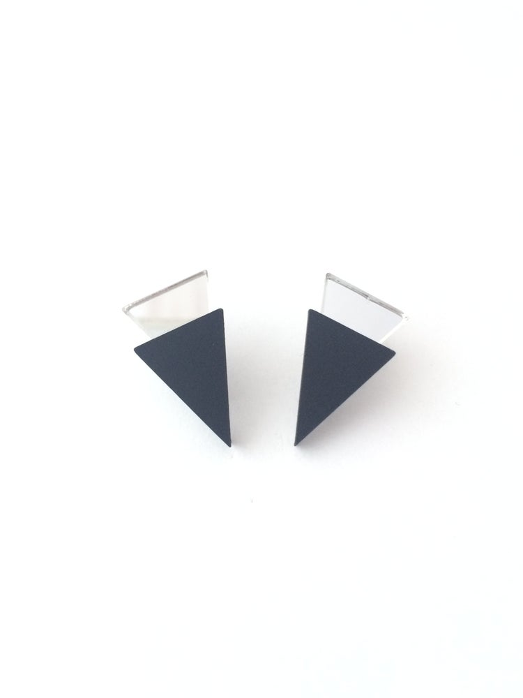 Image of Náušnice / Earrings Mini Tria - Black n mirror
