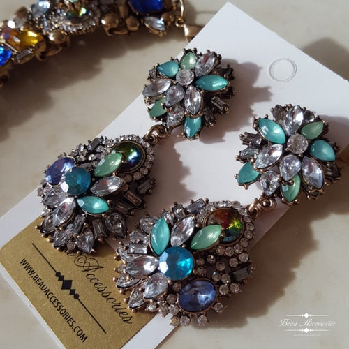 Image of Blue Velencia Necklace and Earrings Set