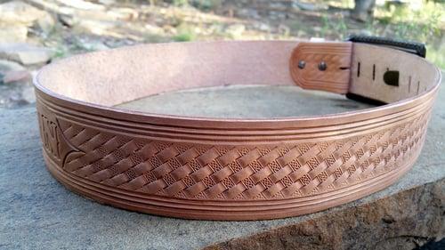 "Image of Custom Hand Tooled Leather Kilt Belt. Your image/design or idea. 2 1/4"" wide"