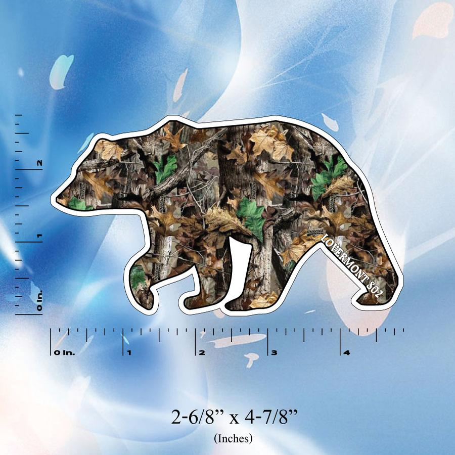 Image of Vermont Realtree Camo Bear Stickers - Digital printed bumper decal