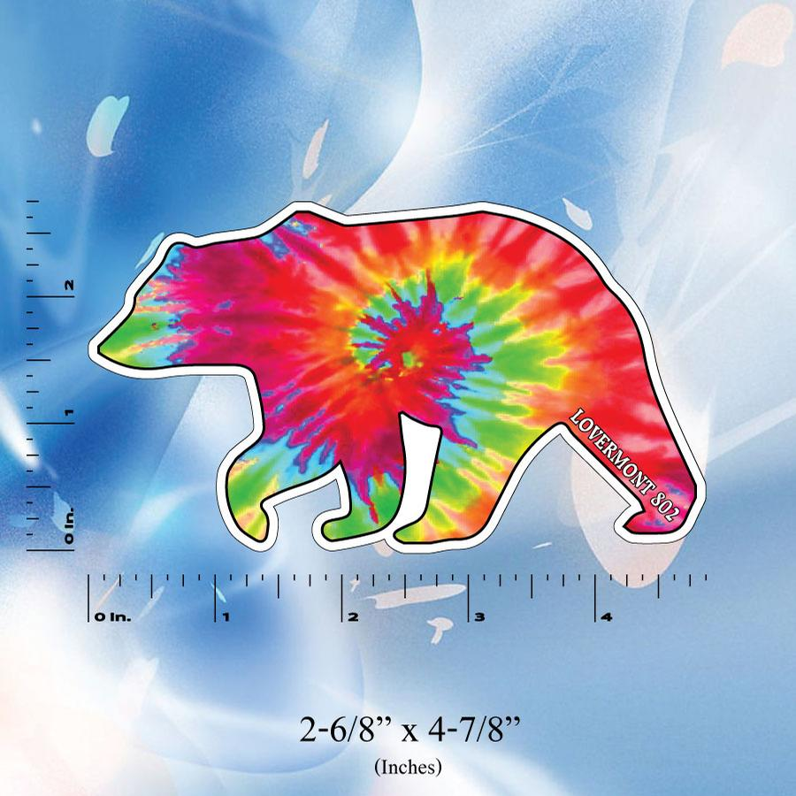 Image of Vermont Tie Dye Bear Stickers - Digital printed bumper decal