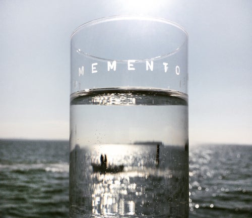 Image of VERBA water glass with a Latin inscription