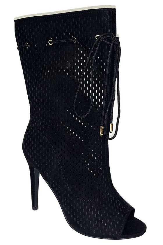 Image of Netted Peep Toe Booties