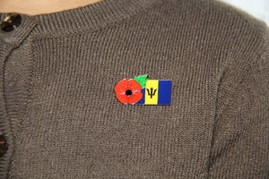 Image of BARBADOS FMN Poppy/Flag Combo Medal (28mm x 15.5mm)